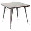 LumiSource Austin Dining Table, Brushed Silver
