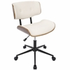 Lombardi Height Adjustable Office Mid-century Modern Chair with Swivel in Walnut and Cream