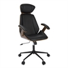 Spectre Mid-Century Modern Walnut Wood Office Chair in Black