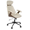 LumiSource Spectre Mid-Century Modern Walnut Wood Office Chair in Cream