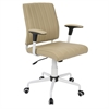 Cache Contemporary Office Chair in Cashmere with White Metal