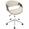 Curvo Mid-Century Modern Office Chair in Walnut and Cream