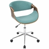 Curvo Mid-Century Modern Office Chair in Walnut and Teal