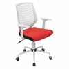 Network Height Adjustable Office Chair with Swivel, White / Red