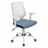 Network Height Adjustable Office Chair with Swivel, White / Smoked Blue