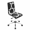 LumiSource Printed Height Adjustable Office Chair with Swivel, Black Circles