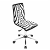 Printed Height Adjustable Office Chair with Swivel, Zebra