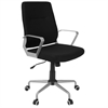 Zip Contemporary Office Chair in Black Fabric with Silver Metal, Grey / Black Fabric