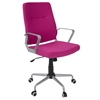 LumiSource Zip Contemporary Office Chair in Hot Pink Fabric with Silver Metal, Grey / Hot Pink Fabric