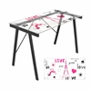 LumiSource Graphic Exponent Desk, Clear / Black / Pink