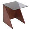 LumiSource Tabulo Side Table, Walnut / Smoked Glass