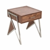 Tetra Contemporary End Table in Walnut Wood and Stainless Steel
