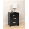 Prepac Black Coal Harbor 3 Drawer Tall Nightstand