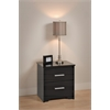 Prepac Black Coal Harbor 2 Drawer Nightstand