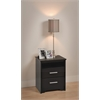 Prepac Black Coal Harbor 2 Drawer Tall Nightstand with Open Shelf
