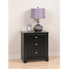 Black Kallisto 3 Drawer Nightstand