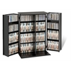 Prepac Black Locking Media Storage Cabinet with Shaker Doors