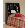 Black Twin Tall Slant-Back Bookcase Headboard