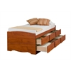 Prepac Cherry Tall Twin Captain's Platform Storage Bed with 6 Drawers