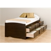 Prepac Espresso Tall Twin Captain's Platform Storage Bed with 6 Drawers