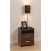 Prepac Espresso Coal Harbor 2 Drawer Tall Nightstand with Open Shelf