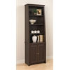 Prepac Espresso Tall Slant-Back Bookcase with 2 Shaker Doors