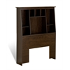 Espresso Twin Tall Slant-Back Bookcase Headboard