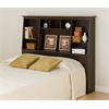 Prepac Espresso Full/Queen Tall Slant-Back Bookcase Headboard