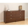 Prepac Warm Cherry Series 9 Designer - 6 Drawer Dresser