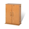 Prepac Oak & Black Locking Media Storage Cabinet