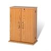 Prepac Oak & Black Locking Media Storage Cabinet