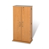 Prepac Oak & Black Tall Locking Media Storage Cabinet