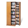 Prepac Oak & Black Grande Locking Media Storage Cabinet