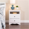 Prepac White Monterey Tall 2 Drawer Nightstand with Open Shelf