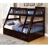 Twin over Full Bunk Bed with 3 Underbed Drawers in Espresso