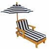 Outdoor Chaise w/ Umbrella & navy stripe fabric