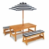 Outdoor Table & Bench Set w/ Cushions/Umbrella