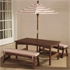 Outdoor Table & Bench Set with Cushions & Umbrella - Espresso with Oatmeal & White Striped Fabric