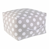 Square Pouf - Gray with White Polka Dots