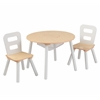 Round Table & 2 Chair Set white/Natural