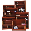 "Contemporary 60""H wood veneer bookcase, Medium cherry"