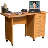 Venture Horizon Folding Mobile Desk, 45 x 18 x 29, Oak