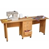 Double Folding Mobile Desk, 71 x 18 x 29, Oak