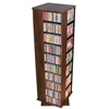 Revolving Media Tower 1000, 19-1/4 x 19-1/4 x 63, Walnut