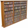 Media Storage Tower-Regular Triple, 76 x 9-1/2 x 50, Oak