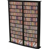 Media Storage Tower-Tall Double, 52 x 9-1/2 x 76, Black