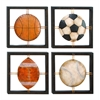 Benzara Metal Wall Plaque Set Of 4 Assorted Specially Made For Ball Lovers