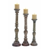Benzara Elegant Wooden Candle Stand With Fine Craftsmanship - Set Of 3