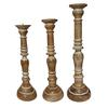 Elegant Wooden Candle Stand With Fine Craftsmanship - Set Of 3