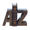 Benzara Wood Book End Pair With Wood Grain Design